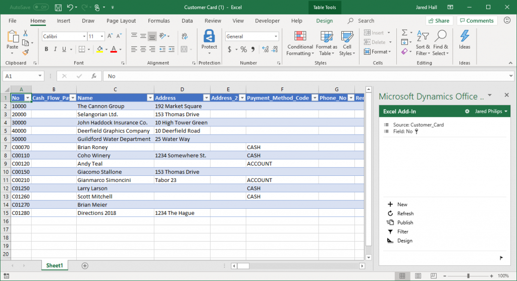 Business Central Edit in Excel