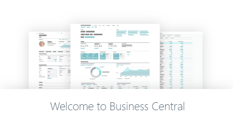Business Central 2020 welcome page