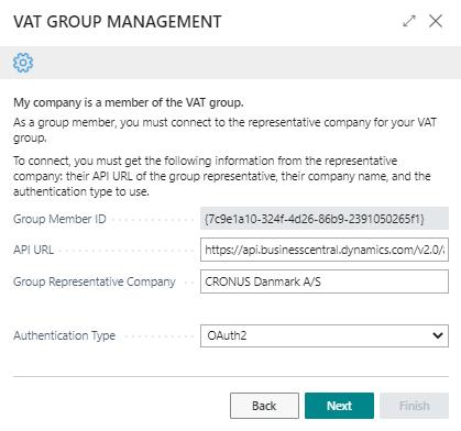 VAT Group management setup member